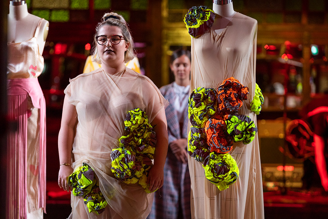 Student work on display in a fashion show
