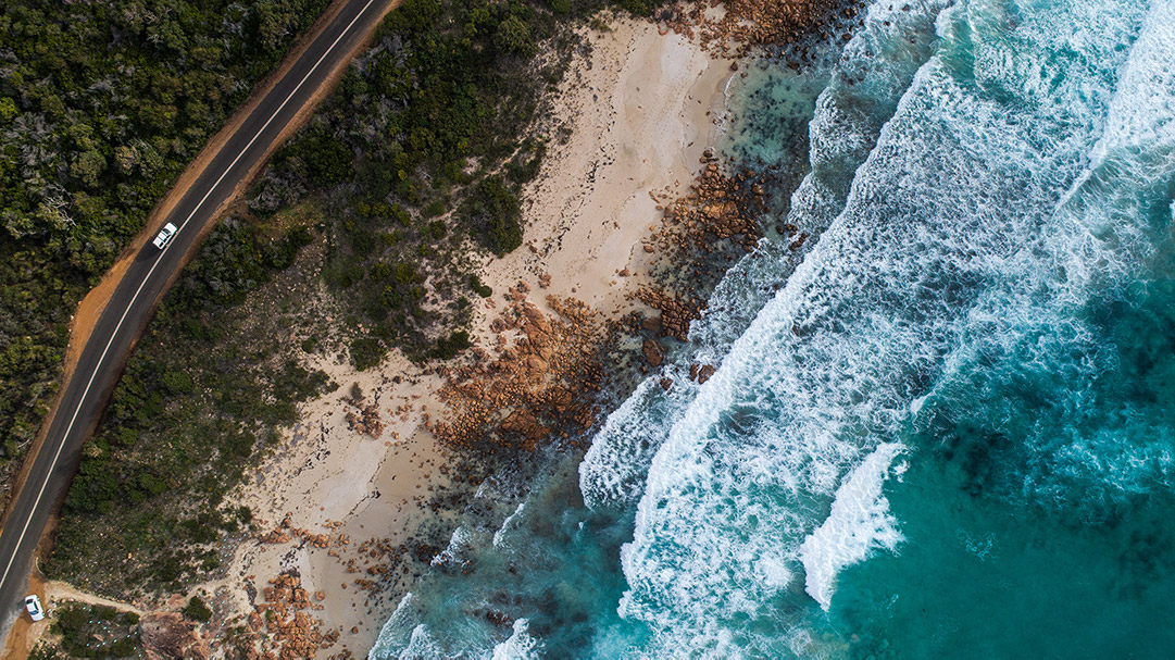 Drone image of beach and sand at Eagle Bay in Dunsborough