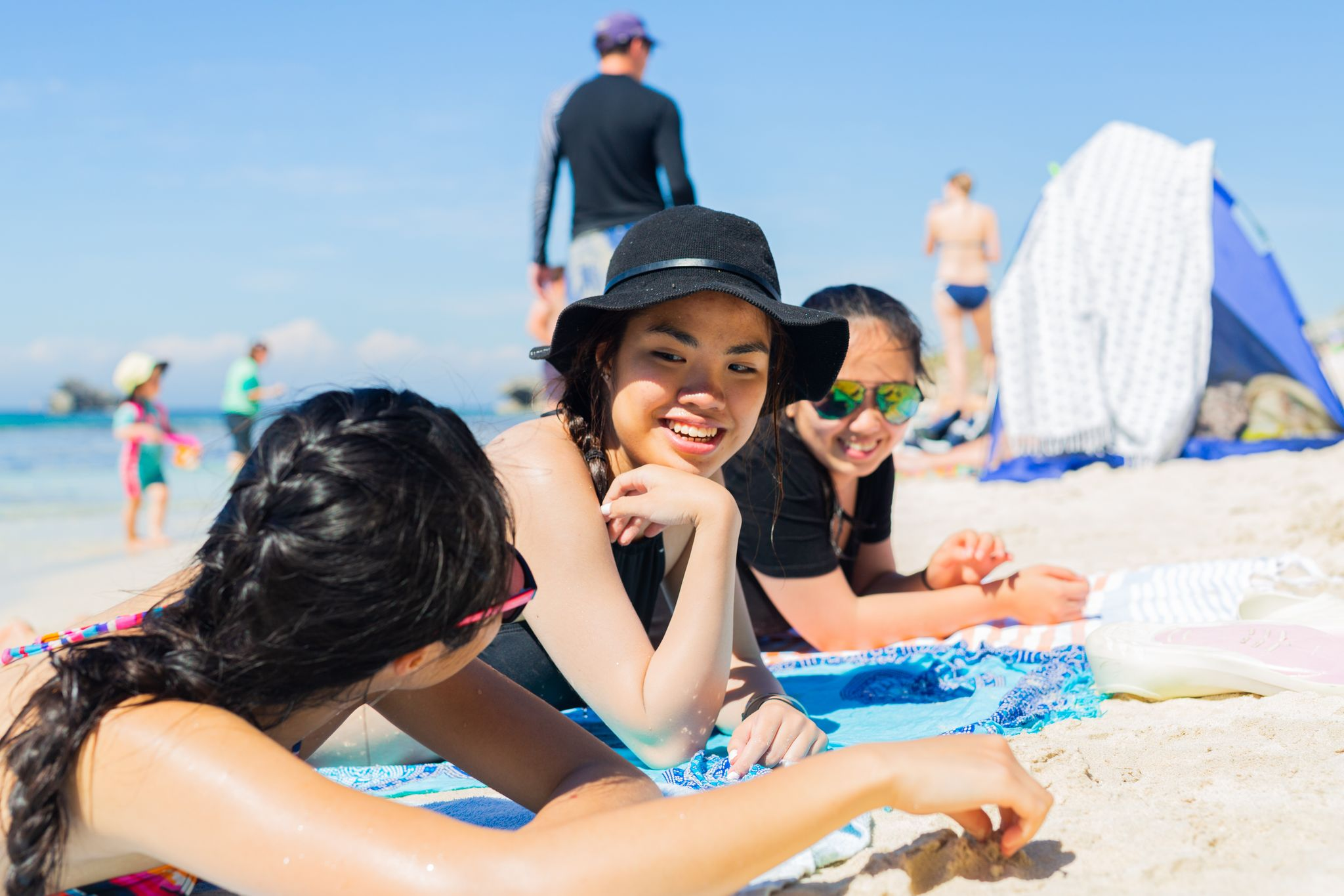 enjoying a nice day on the beach at Cottesloe Beach