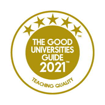 Logo for 5 star rating for teaching quality with the Good Universities Guide 2021