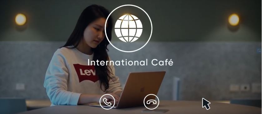 Student logging onto the International Cafe to connect with other students online