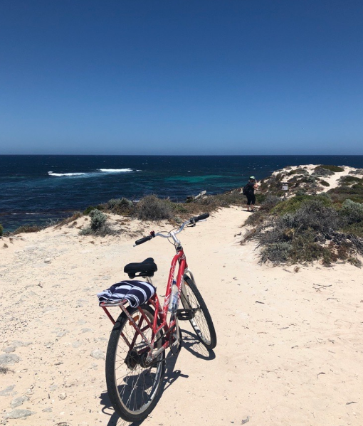 Exploring the beaches of Rottnest Island with a bike