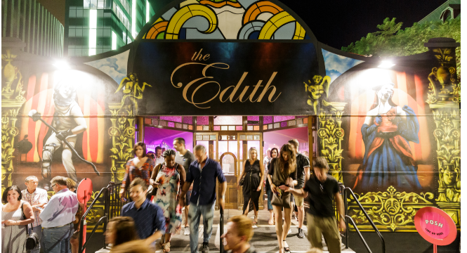 People leaving a show that was hosted in the Edith Spiegeltent