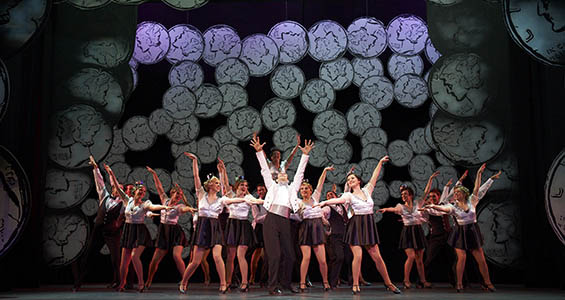 Student on stage performing '42nd Street', a Music Theatre Production by WAAPA